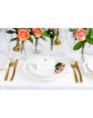 10 cartões de papel brancos com coração ouro rosa para mesa