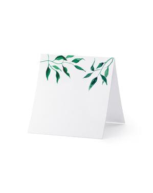 Set 25 Kartu Tempat Kertas Putih dengan Daun Zaitun