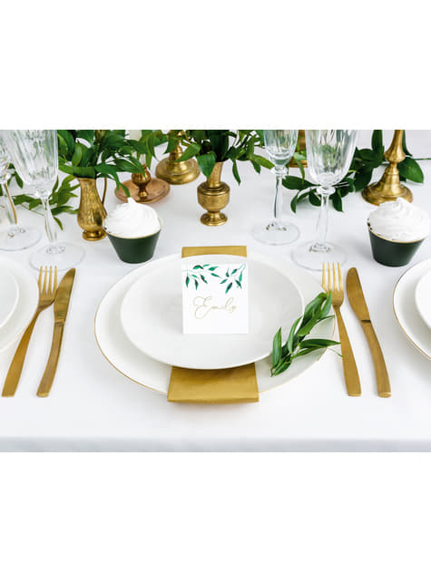 25 White Paper Place Cards with Olive Leaves