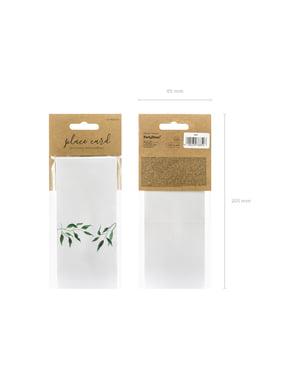Zeytin yaprağı ile 25 beyaz kağıt yer kart dizisini