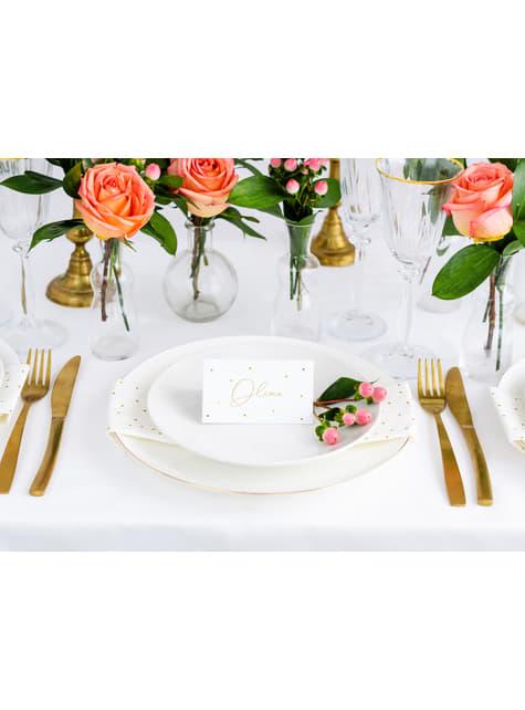 10 marcasitios para mesa blancos con lunares dorados de papel