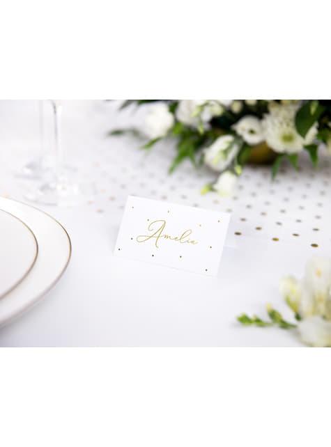 10 białe papierowe wizytówki na stół w złote kropki