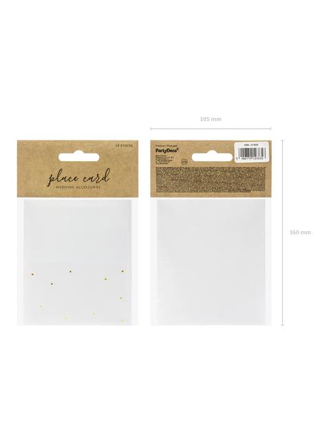 10 étiquettes porte-noms blanches à pois dorés en papier