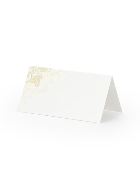 25 marcasitios para mesa blancos con elementos dorados de papel