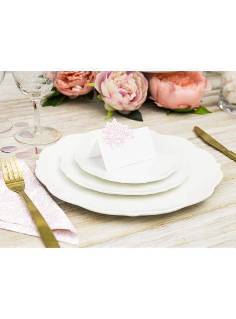 10 marcasitios para mesa blancos con peonia rosa de papel