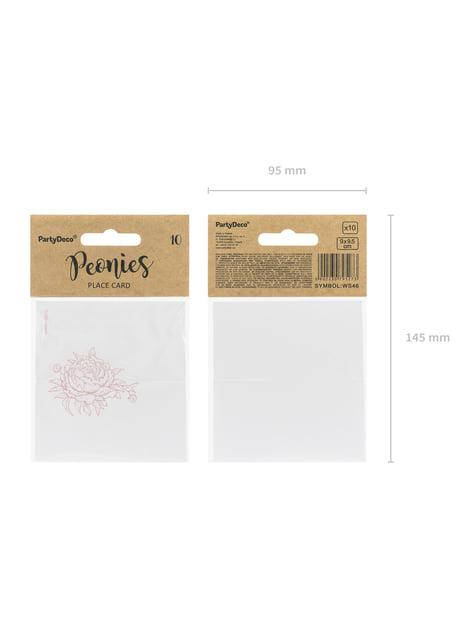 10 białe papierowe wizytówki na stół z różową piwonią