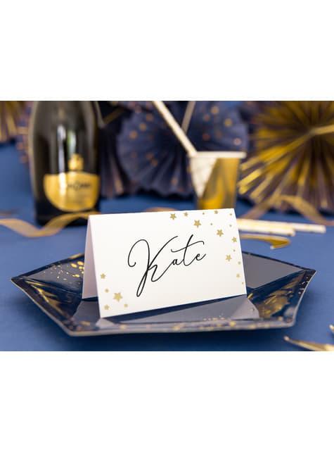 10 marcasitios para mesa blancos con estrella doradas de papel