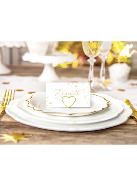 10 białe papierowe wizytówki na stół w złote gwiazdki