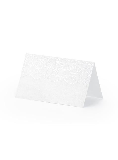 10 marcasitios para mesa blancos y plateados de papel - para niños y adultos