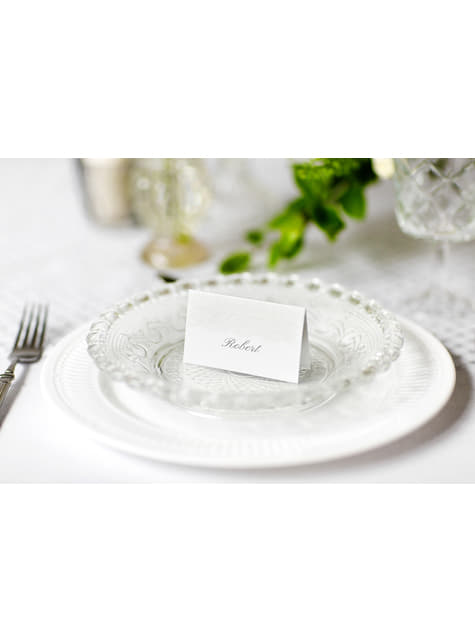 10 étiquettes porte-noms blanches et argentées en papier