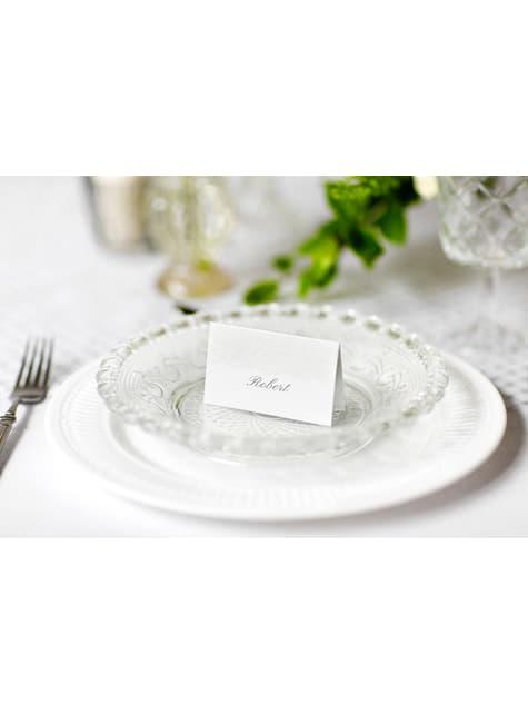 10 valkoista & hopeista paperista nimikorttia