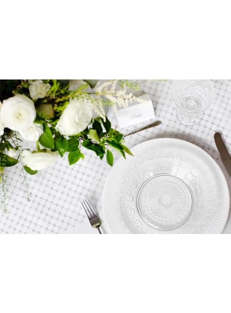 10 marcasitios para mesa blancos y plateados de papel - para tus fiestas