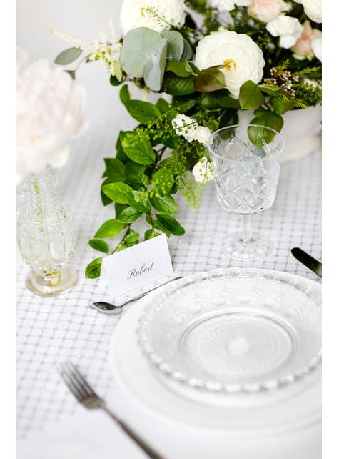 10 marcasitios para mesa blancos y plateados de papel - comprar