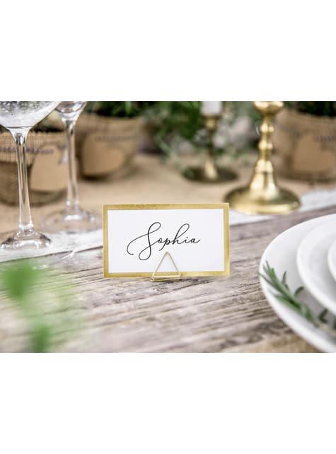 10 marcasitios para mesa blancos con borde dorado de papel - para tus fiestas