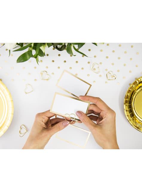 10 białe papierowe wizytówki na stół ze złotym obramowaniem