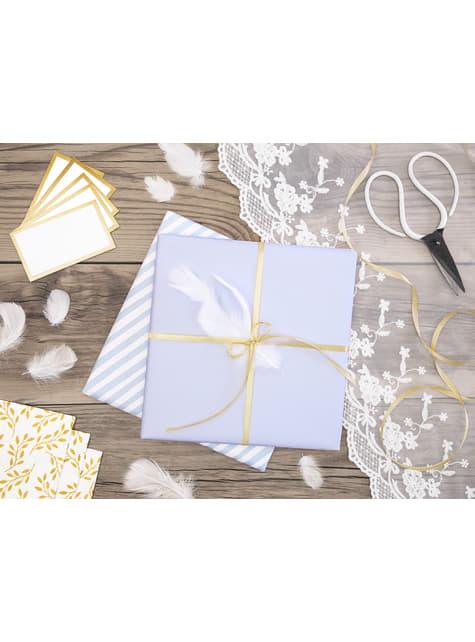 10 marcasitios para mesa blancos con borde dorado de papel - original