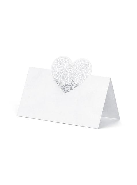 10 étiquettes porte-noms blanches avec cœur argenté en papier