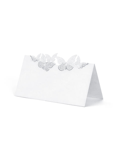 10 segnaposto bianchi con farfalle argentate di carta