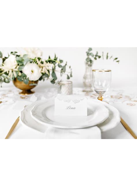 10 marcasitios para mesa blancos con mariposas plateadas de papel - para tus fiestas