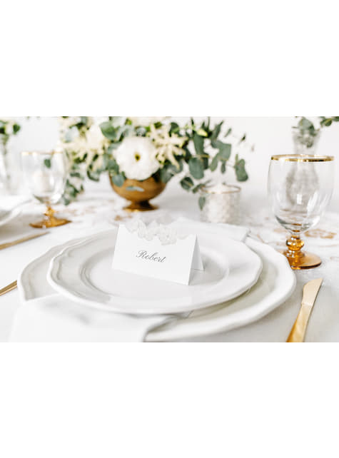 10 White Paper Place Cards with Silver Butterflies