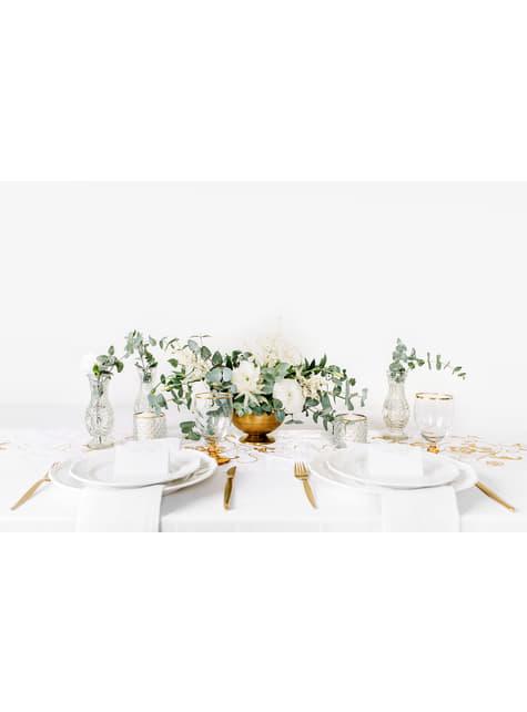 10 białe papierowe wizytówki na stół w srebrne motyle