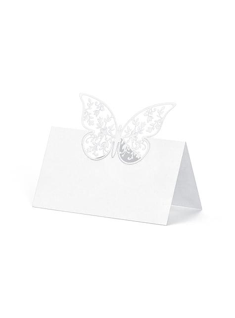 10 białe papierowe wizytówki na stół srebrny motyl