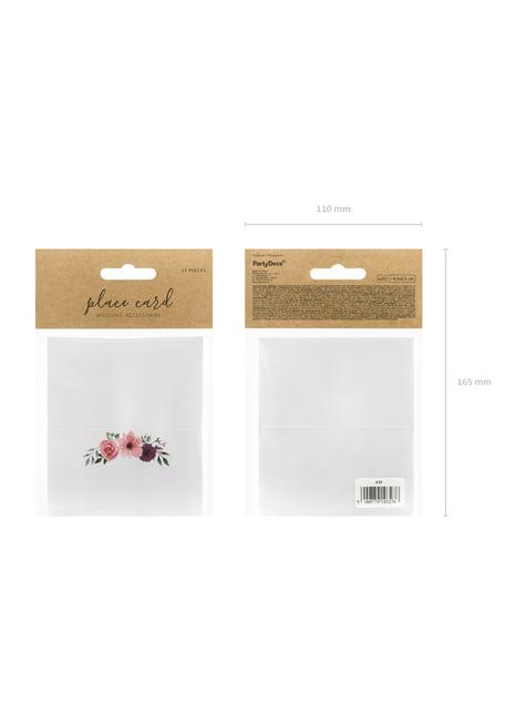 25 marcasitios para mesa blancos con flores en tonos rosas de papel