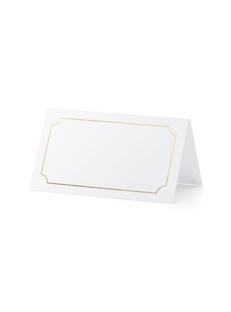 10 étiquettes porte-noms blanches avec cadre doré en papier