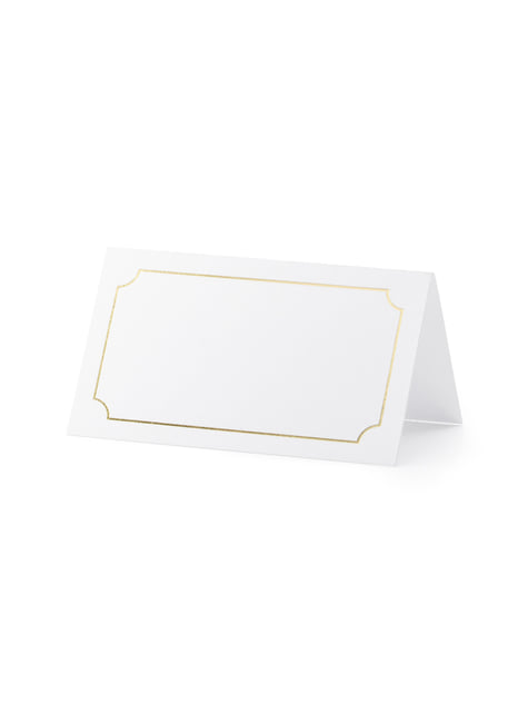 10 marcasitios para mesa blancos con enmarcación dorado de papel - comprar