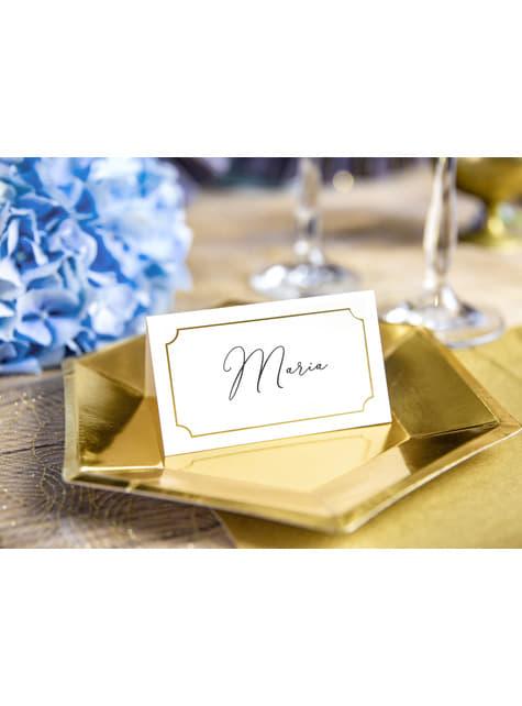 10 białe papierowe wizytówki na stół ze złotą ramką