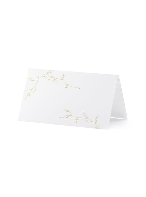 10 étiquettes porte-noms blanches avec branches dorés en papier