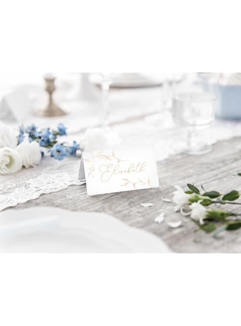 10 marcasitios para mesa blancos con ramas doradas de papel