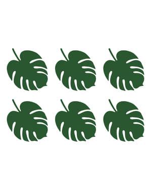 6 zielone wizytówki na stół w kształcie liści - Aloha Collection
