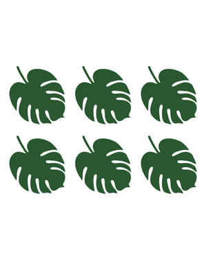6 table cards in green in the shape of a leaf - Aloha Collection