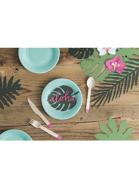 6 tarjetas para mesa verde con forma de hoja - Aloha Turquoise - para tus fiestas