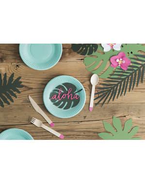 6 cartonașe de masă verzi în formă de frunză - Aloha Collection