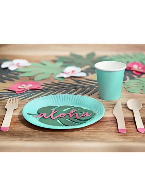 6 tarjetas para mesa verde con forma de hoja - Aloha Turquoise - barato
