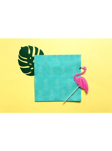 6 tarjetas para mesa verde con forma de hoja - Aloha Turquoise - comprar