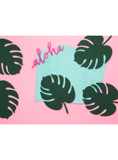 6 tarjetas para mesa verde con forma de hoja - Aloha Turquoise - para niños y adultos