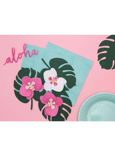 6 tarjetas para mesa verde con forma de hoja - Aloha Turquoise - para decorar todo durante tu fiesta