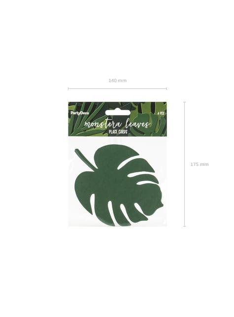6 tarjetas para mesa verde con forma de hoja - Aloha Turquoise - decoración de fiesta