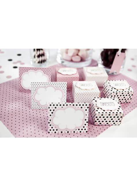 6 marcasitios para mesa rosas con lunares variados - Sweets Collection