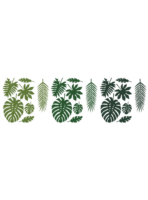 Conjunto de 21 folhas tropicais decorativas - Aloha Collection