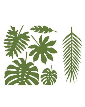 Set of 21 tropical decorative leaves - Aloha Collection