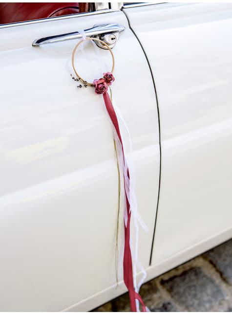 Kit rotin grenat pour voiture des mariés