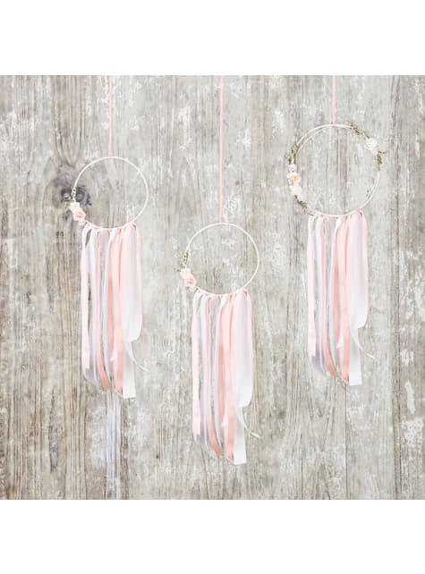 Conjunto de 3 Apanhadores de Sonhos multicolor- Natural Wedding