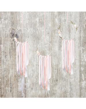 3色とりどりのドリームキャッチャー - ナチュラルウェディングのセット