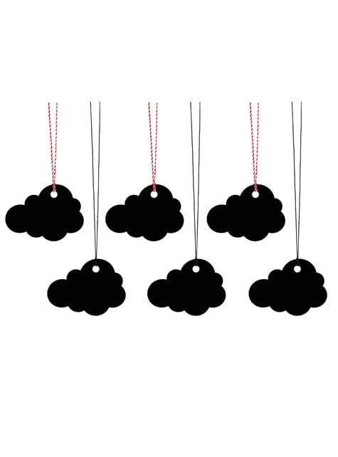 6 etiquetas negras con forma de nube de papel - barato