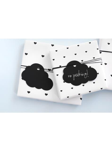 6 etiquetas negras con forma de nube de papel