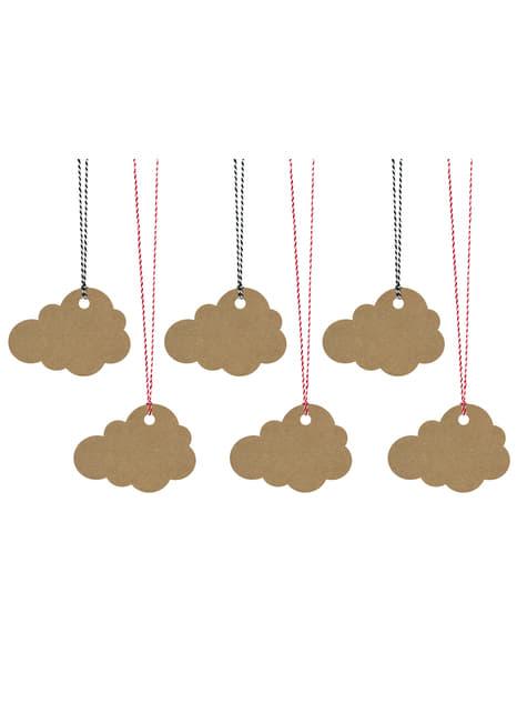 6 etiquetas Kraft con forma de nube de papel Kraft